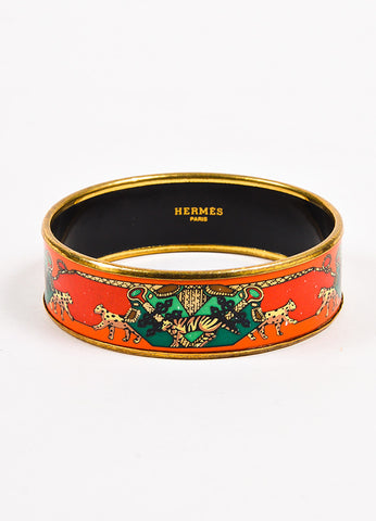 Hermes Red, Green, and Gold Toned Enameled Printed Bangle Bracelet Frontview