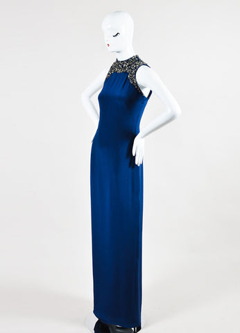 Navy and Silver Marchesa Notte Silk Embellished Sleeveless Gown Side