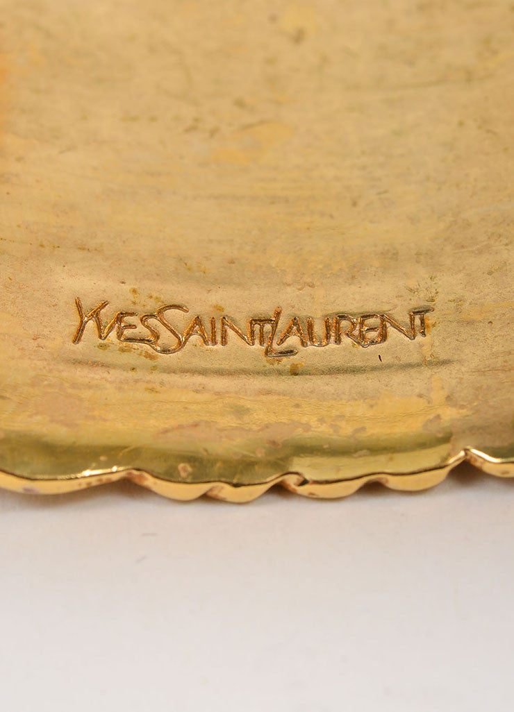 "Yves Saint Laurent Gold Toned Textured ""Stingray"" Cuff Bracelet Brand"