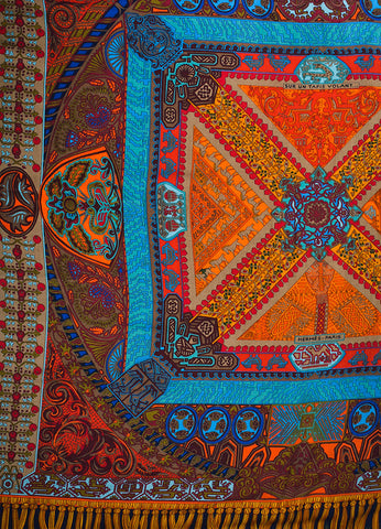"Hermes Blue, Red, and Yellow Cashmere and Silk Printed ""Sur Un Tapis Volant"" Scarf Detail"
