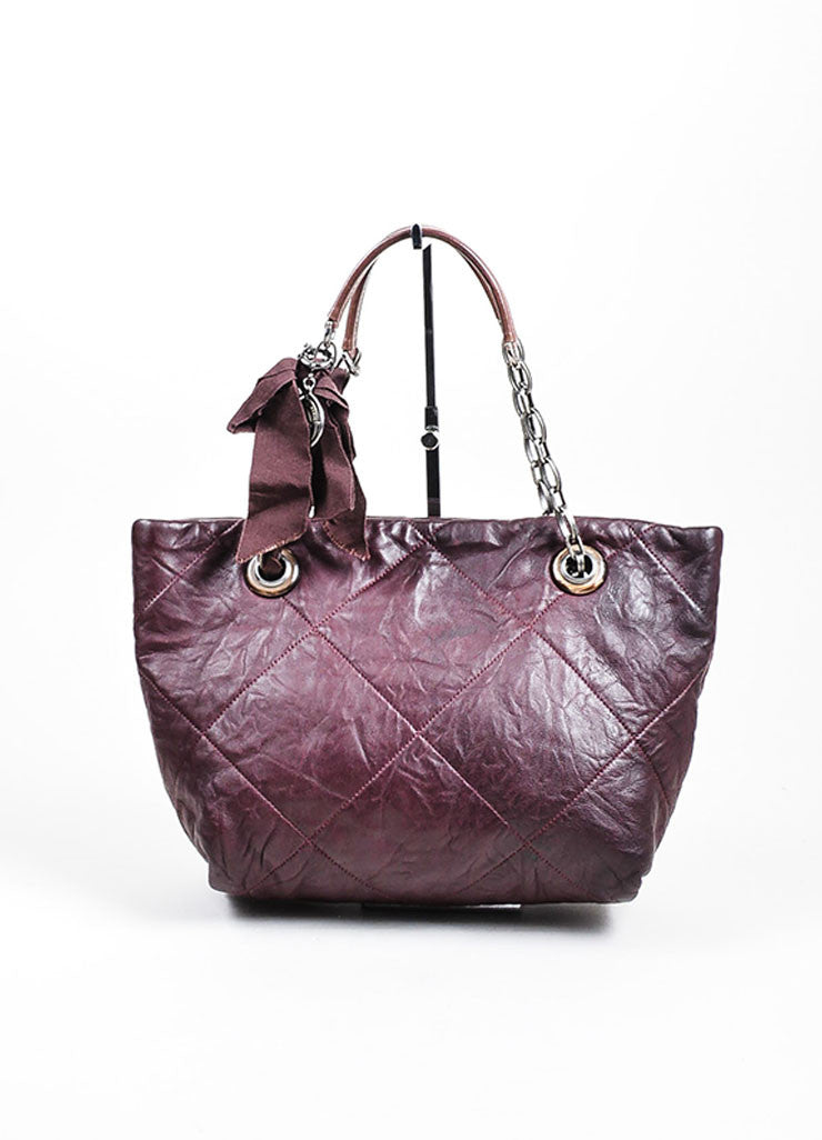 Eggplant Lanvin Leather Quilted 'Amalia' Chain Strap Ribbon Tote Bag Frontview