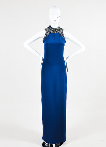 Navy and Silver Marchesa Notte Silk Embellished Sleeveless Gown Front