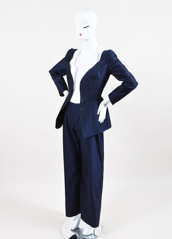 Thierry Mugler Navy Wool and Silk Blend Pinstripe Pant Suit  Sideview