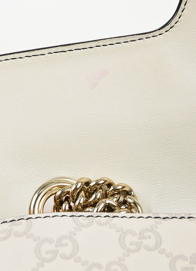 "Gucci Off White Leather Monogram Tassel Chain Strap ""Emily"" Shoulder Bag Detail 2"