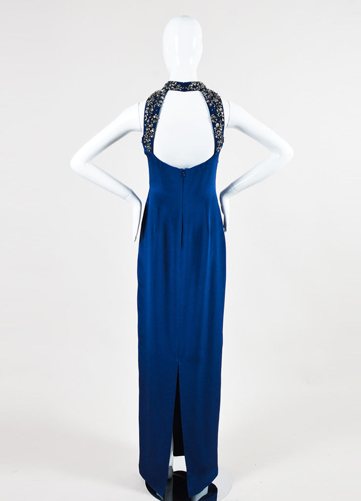 Navy and Silver Marchesa Notte Silk Embellished Sleeveless Gown Back