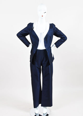 Thierry Mugler Navy Wool and Silk Blend Pinstripe Pant Suit  Frontview