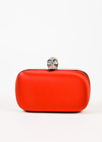 Alexander McQueen Red Satin Silver Toned Rhinestone Embellished Skull Clutch Bag Frontview