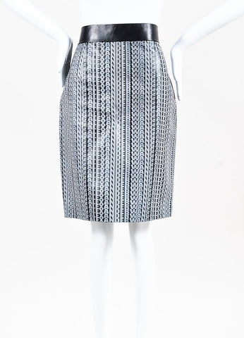 Alexander Wang Black and White Coated Leather Logo Printed Skirt Frontview