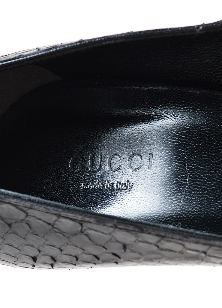 "Black Gucci Python Leather ""Brooke"" Stiletto Heel Pumps Brand"