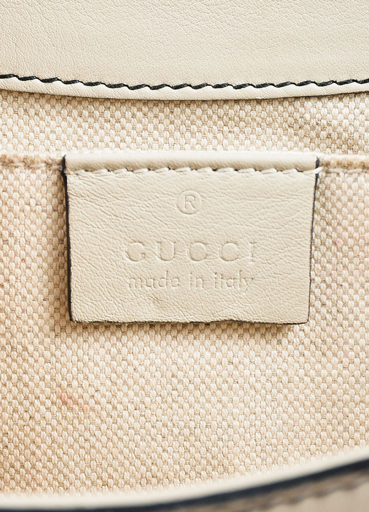 "Gucci Off White Leather Monogram Tassel Chain Strap ""Emily"" Shoulder Bag Brand"