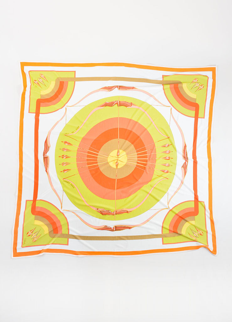 Hermes Green, Coral and White Silk Jersey Scarf Front
