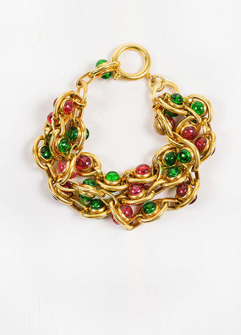 Gold Toned, Red, and Green Chanel Gripoix Stone Three Strand Chain Bracelet Frontview