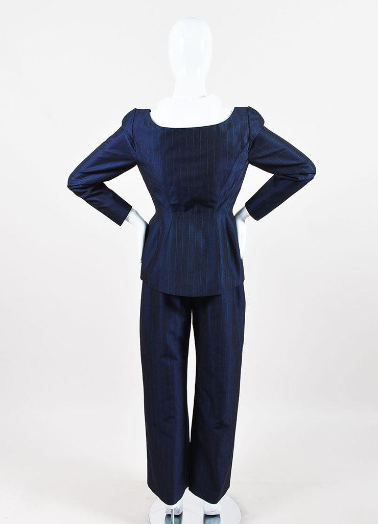 Thierry Mugler Navy Wool and Silk Blend Pinstripe Pant Suit  backview