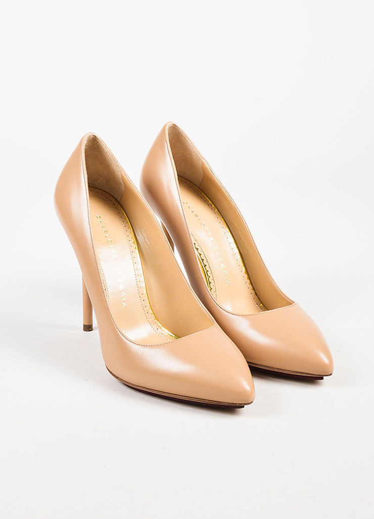 "Charlotte Olympia Nude Leather ""Monroe"" Pointed Toe Pumps Frontview"