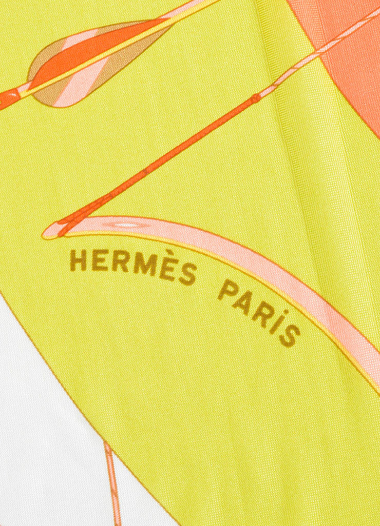 Hermes Green, Coral and White Silk Jersey Scarf Detail