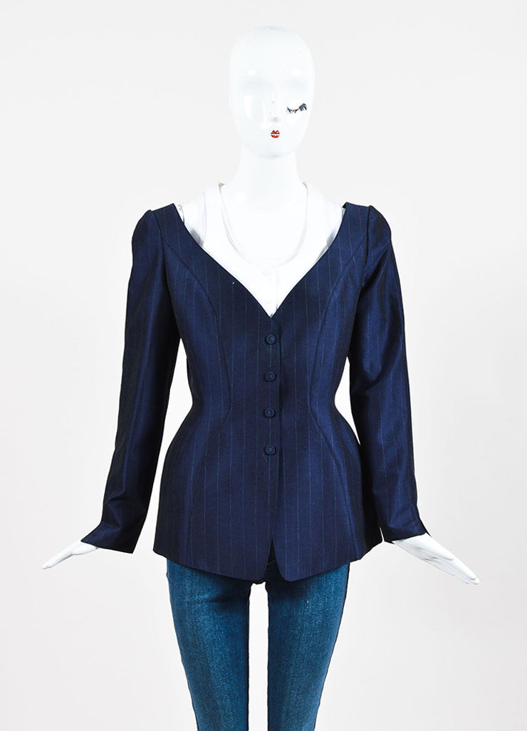 Thierry Mugler Navy Wool and Silk Blend Pinstripe Pant Suit  Jacket