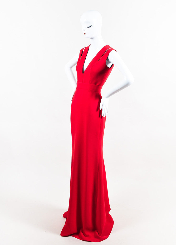 Red Victoria Beckham Silk & Wool Blend Cutout Shoulder Gown Front
