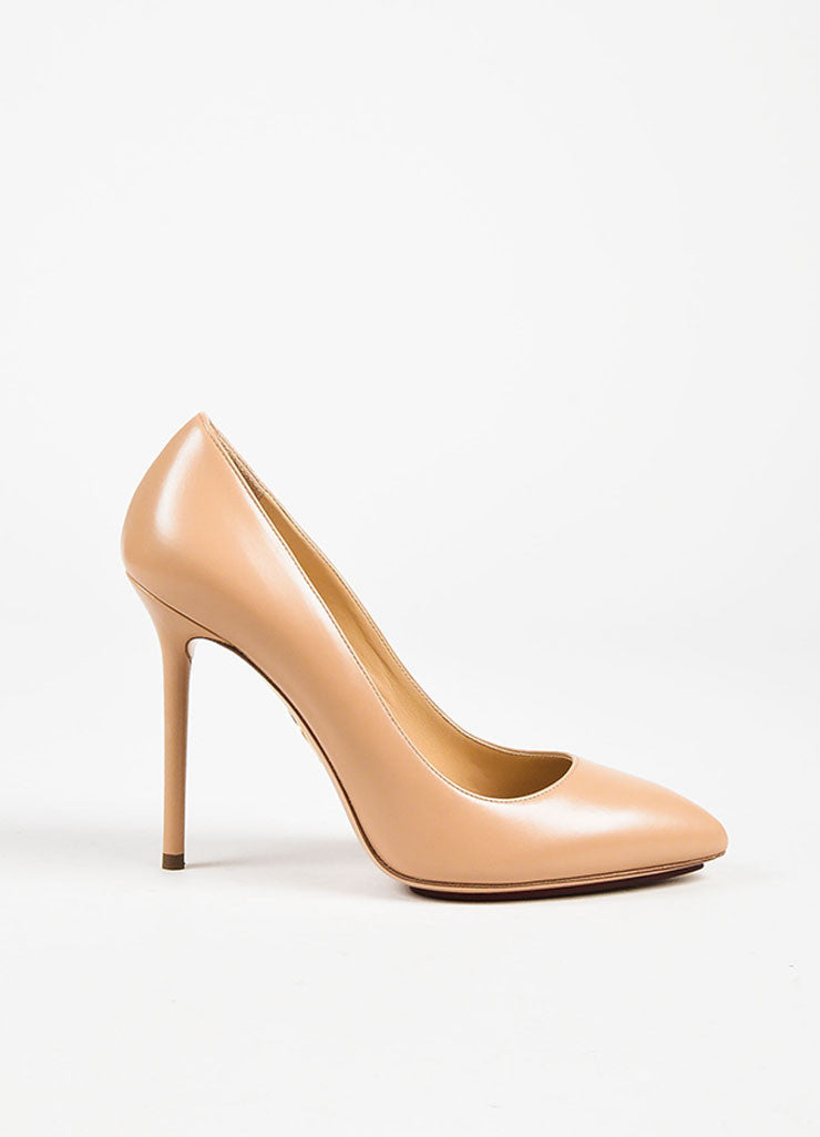 "Charlotte Olympia Nude Leather ""Monroe"" Pointed Toe Pumps Sideview"