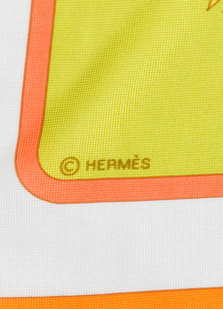 Hermes Green, Coral and White Silk Jersey Scarf Detail 2