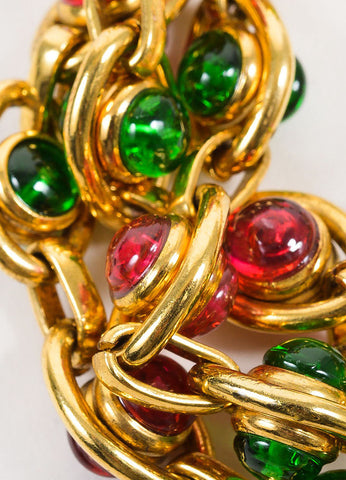 Gold Toned, Red, and Green Chanel Gripoix Stone Three Strand Chain Bracelet Detail
