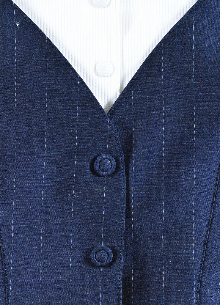 Thierry Mugler Navy Wool and Silk Blend Pinstripe Pant Suit Detail