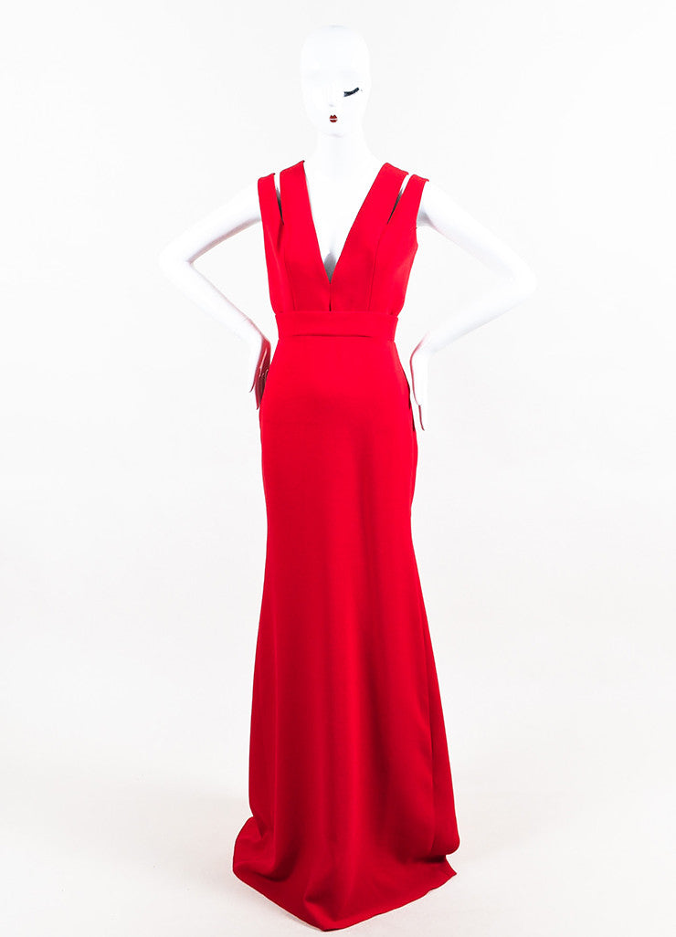 Red Victoria Beckham Silk & Wool Blend Cutout Shoulder Gown Front 2