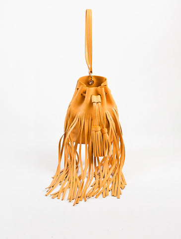 10 Crosby Derek Lam Yellow Tan Leather Fringed Tassel Bucket Bag Frontview