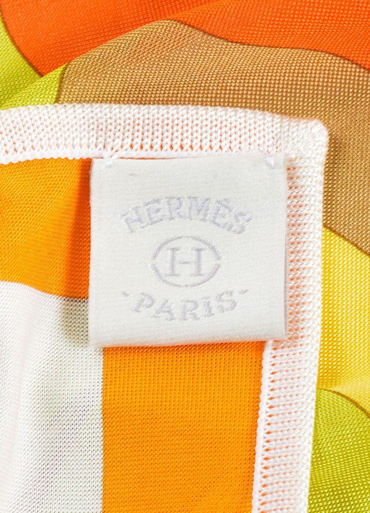 Hermes Green, Coral and White Silk Jersey Scarf Brand