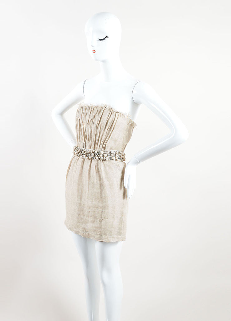 Monique Lhuillier Tan Linen Sequin Beaded Belted Strapless Dress Sideview