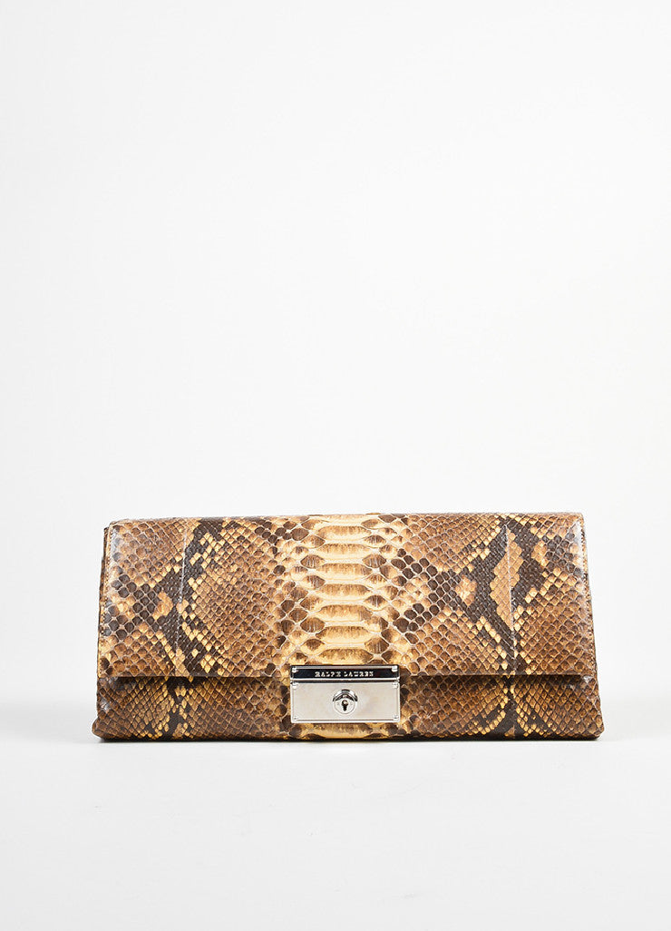 Brown and Cream Ralph Lauren Snakeskin Flap Clutch Bag Frontview