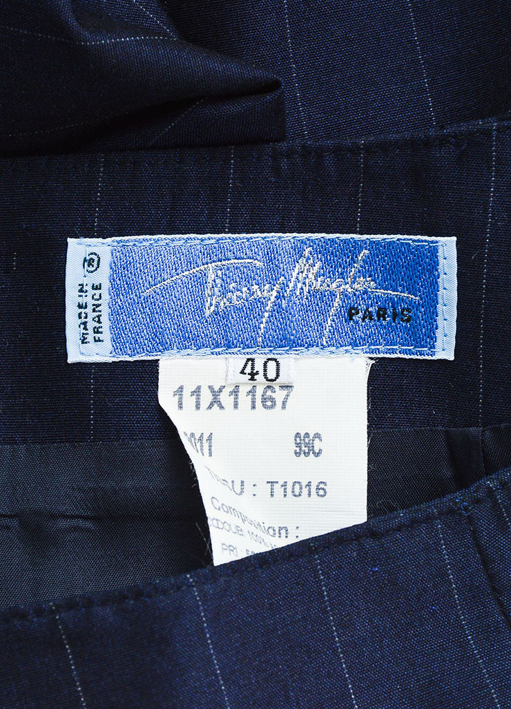 Thierry Mugler Navy Wool and Silk Blend Pinstripe Pant Suit Brand