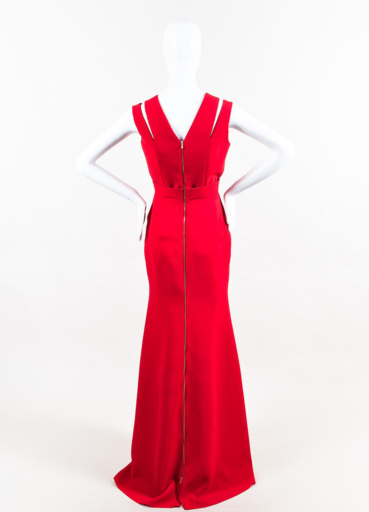 Red Victoria Beckham Silk & Wool Blend Cutout Shoulder Gown Back