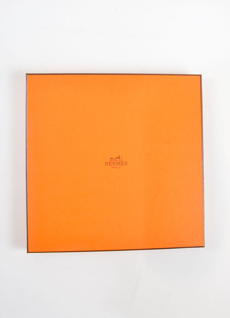 Hermes Green, Coral and White Silk Jersey Scarf Box