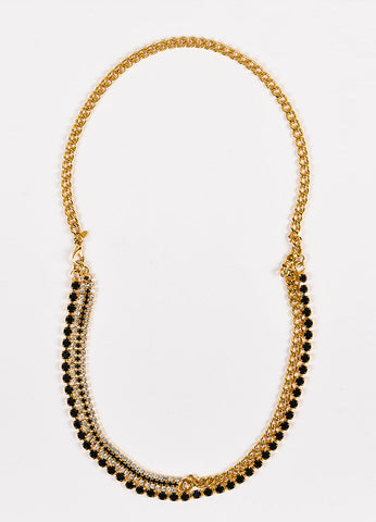 Marni Gold Toned and Black Crystal Double Strand Chain Necklace Frontview