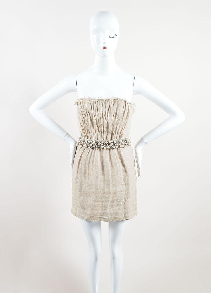 Monique Lhuillier Tan Linen Sequin Beaded Belted Strapless Dress Frontview