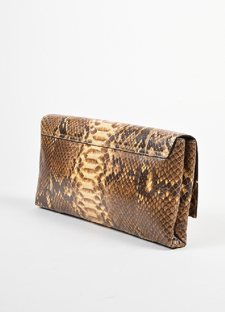 Brown and Cream Ralph Lauren Snakeskin Flap Clutch Bag Sideview