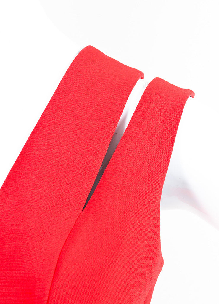 Red Victoria Beckham Silk & Wool Blend Cutout Shoulder Gown Detail