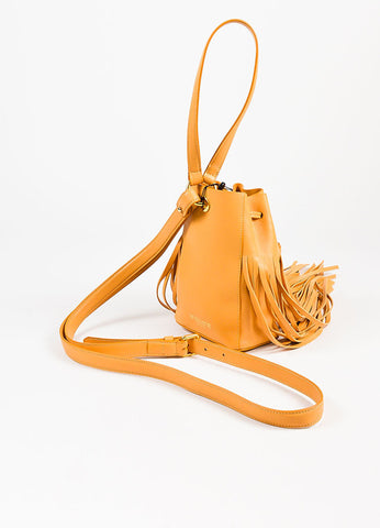 10 Crosby Derek Lam Yellow Tan Leather Fringed Tassel Bucket Bag Sideview