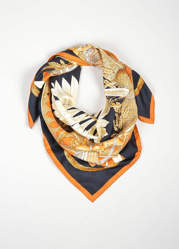 "Black, Orange, and Cream Hermes Silk ""Amours"" Cherub and Sunflower Scarf Frontview"