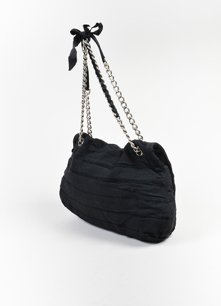 Lanvin Black Twill Silver Toned Chain Strap Ribbon Purse Shoulder Bag Sideview