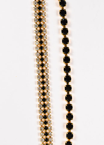 Marni Gold Toned and Black Crystal Double Strand Chain Necklace Detail