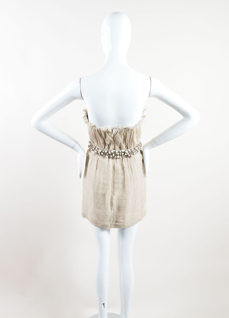 Monique Lhuillier Tan Linen Sequin Beaded Belted Strapless Dress Backview