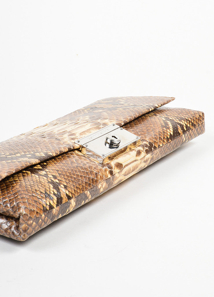 Brown and Cream Ralph Lauren Snakeskin Flap Clutch Bag Bottom View