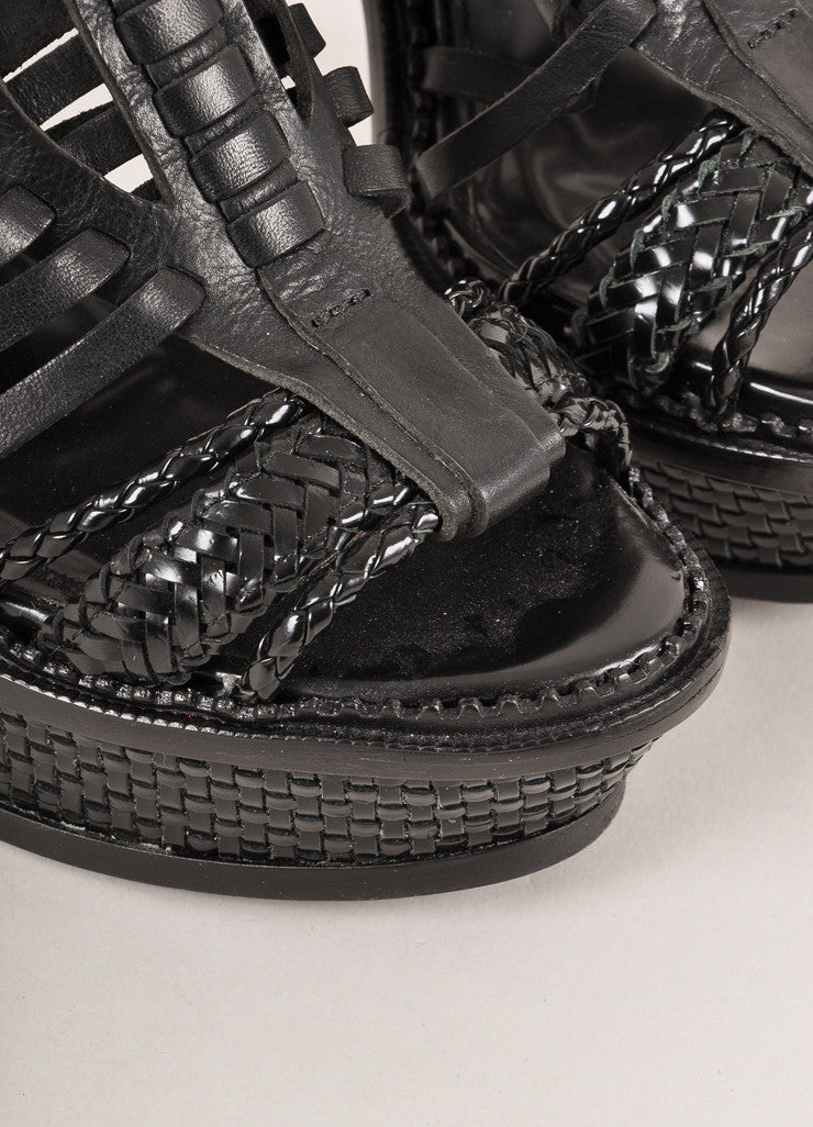 Burberry Prorsum Black Leather Woven Platform Sandals Detail