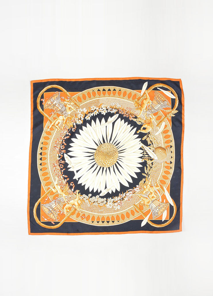 "Black, Orange, and Cream Hermes Silk ""Amours"" Cherub and Sunflower Scarf Frontview 2"