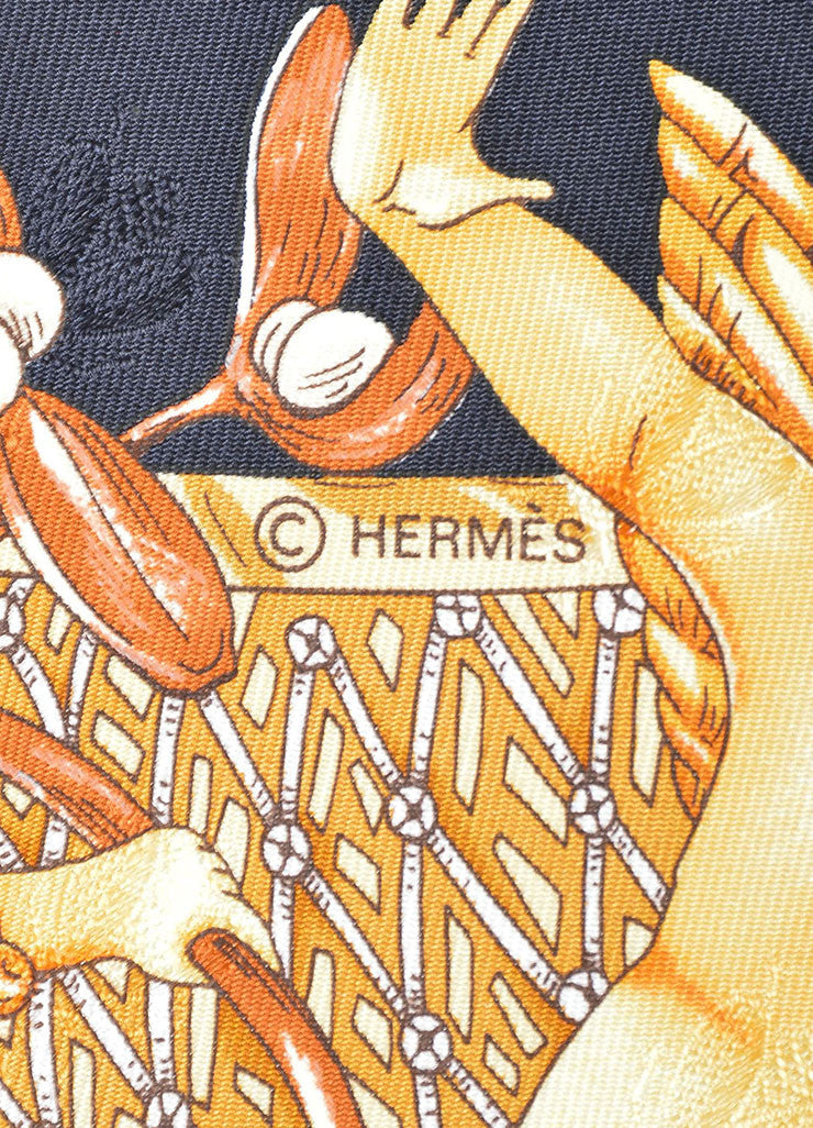 "Black, Orange, and Cream Hermes Silk ""Amours"" Cherub and Sunflower Scarf Brand"