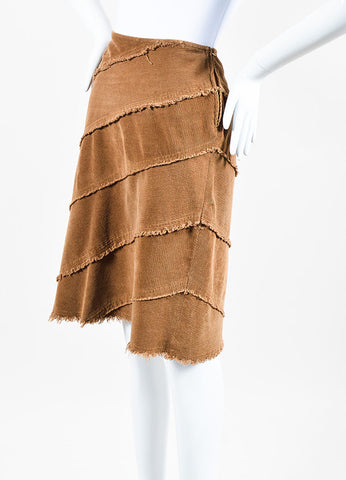 Moschino Jeans Brown Corduroy Fringe Trim Skirt Sideview