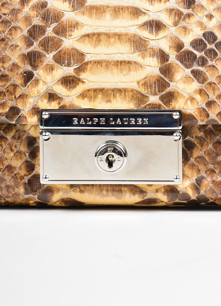 Brown and Cream Ralph Lauren Snakeskin Flap Clutch Bag Detail 2