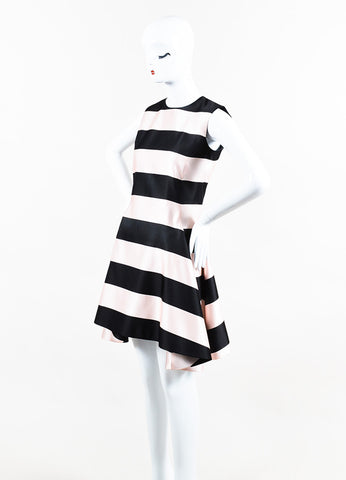 Black and Pink Christian Dior Silk Striped Horseshoe Hem Dress Front