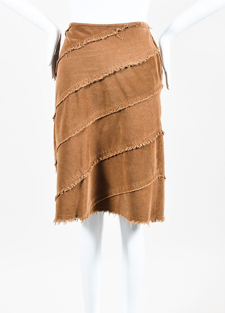 Moschino Jeans Brown Corduroy Fringe Trim Skirt Frontview